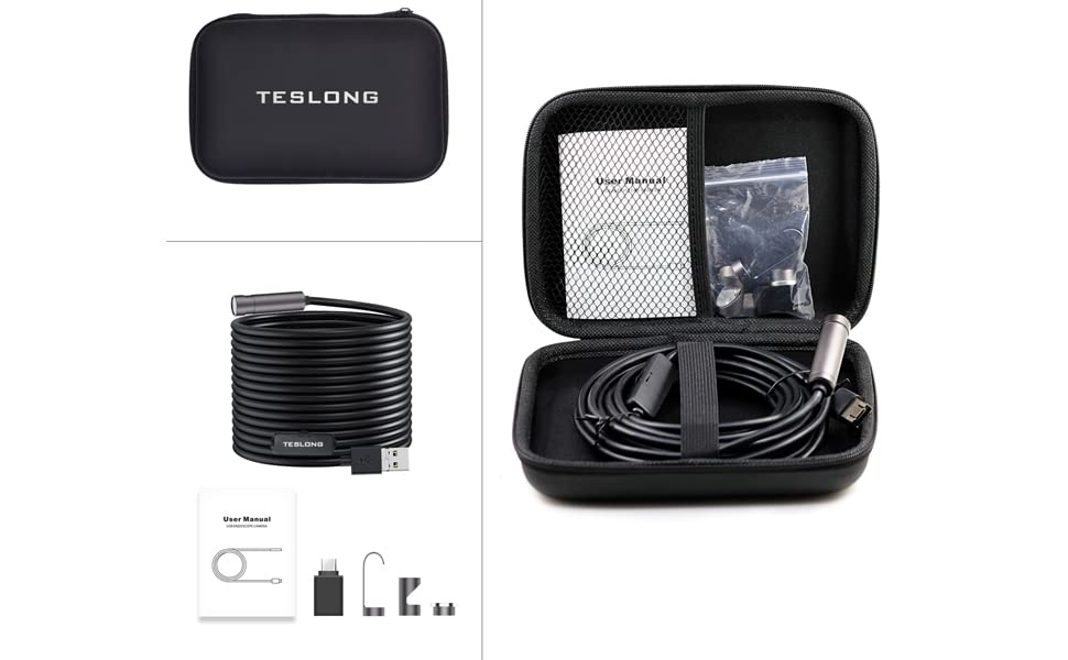 Windows /& MacBook Device Auto Focus Inspection Camera 16.4ft// 5m Teslong 5.0 Megapixels Semi-Rigid Borescope Endoscope Camera with Carrying Case for Android