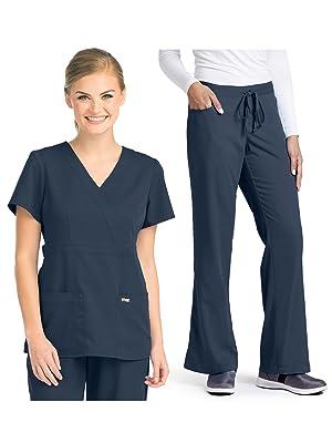 Two models wearing Grey's Anatomy 4153-4232 Women's Scrub Set