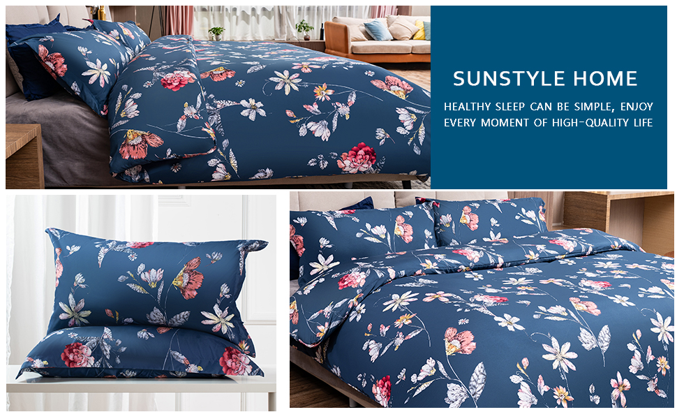 SunStyle Home Duvet Cover Set with Zipper Closure Floral Paisley/White Pattern Printed Reversible