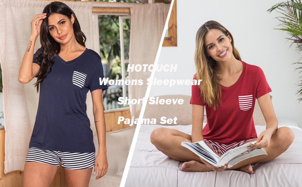Womens Sleepwear Pajama Set Short Sleeve Shorts Pjs Sleep pj Set