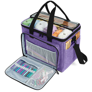 Purple IPOTCH Yarn Bag Knitting Tote Bag Yarn Storage Organizer for Large Projects