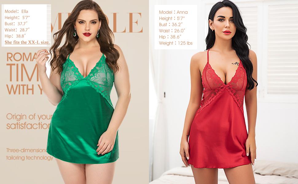 Satin nightgown for plus size women