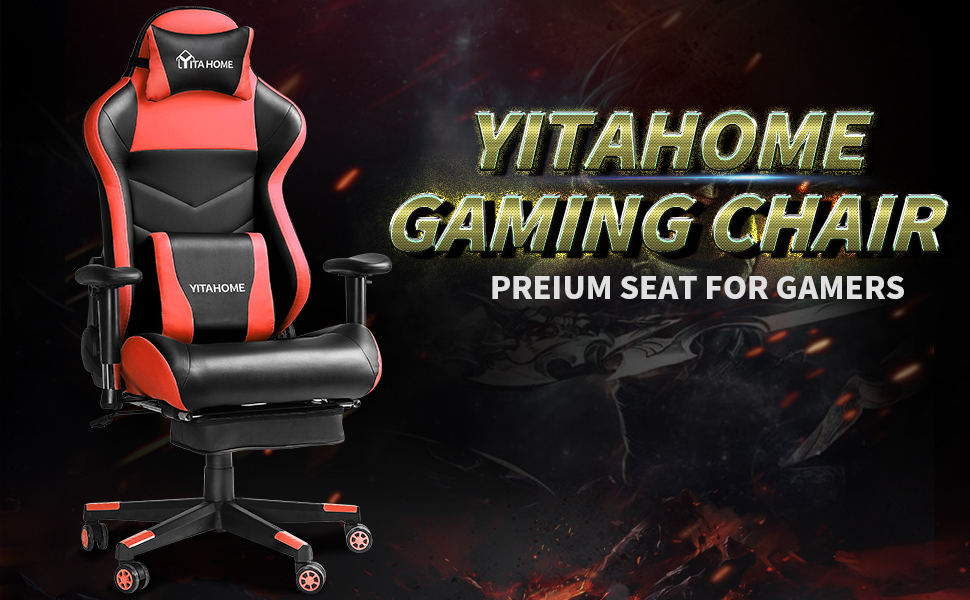 Gaming Chair Ergonomic Racing Style High Back PC Computer Game Chair with Footrest,