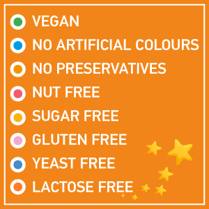 Vegan, no artificial colours, no preservatives, sugar free, gluten free, lactose free