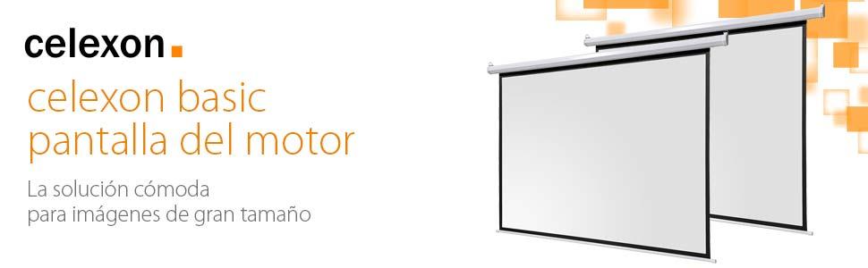 celexon basic line pantalla motorizada 200 x 13 cm, Formato de Pantalla 1:1, Pantalla de Cine en casa, Pantalla de Vídeoproyector, pantalla 3D, ...