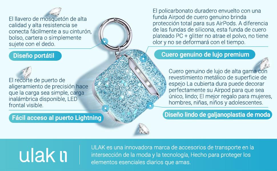 ULAK Funda AirPods 2 & 1, Cubierta Protectora de Cuero Brillante Estuche de Carga de Tapa Dura para Apple AirPods 1 & 2 (LED Visible en el Frente): Amazon.es: Electrónica