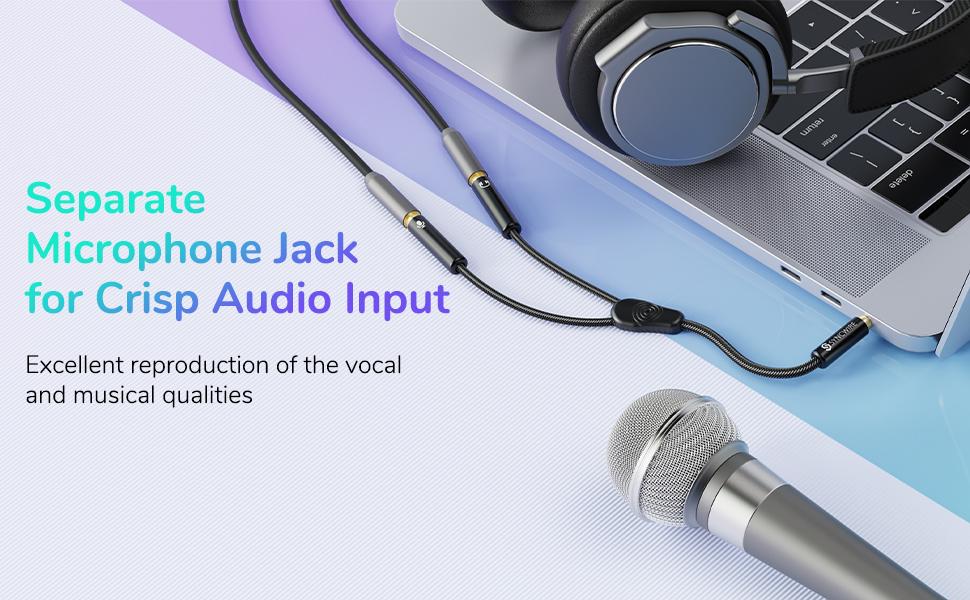 headphone splitter cable mic audio adapter