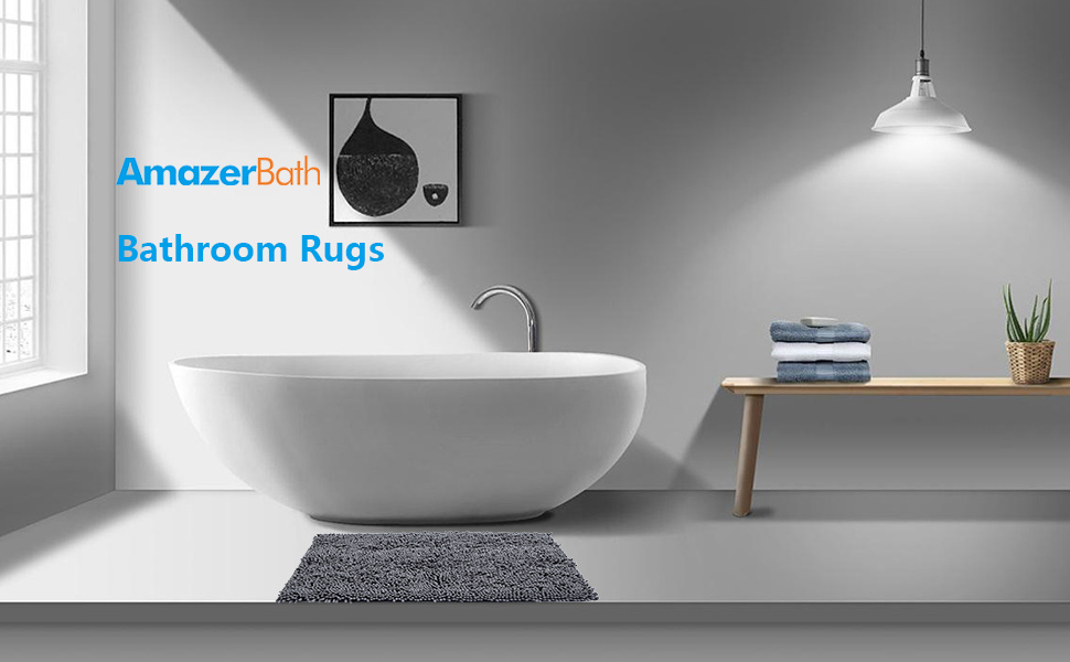 Bathroom Rug Bath Mat Non-Slip Gray Bath Rug for Bathroom