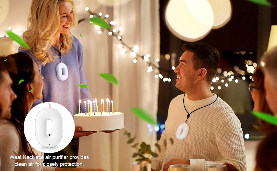 Necklace air purifier for party