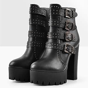 MissHeel Knöchelstiefeletten mit Blockabsatz Nieten Platform Boots