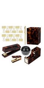 brown amber paper clip sticky notes push pins holder memo dispenser organizer