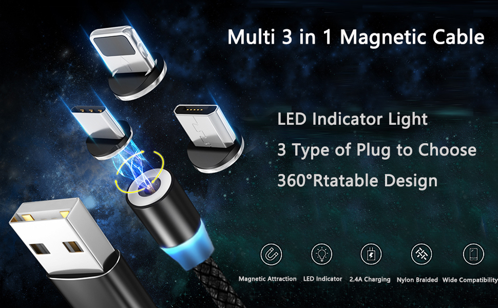USB Cable for Micro USB//Type C//iOS GTJXEY 3 in 1 Multi Charging Cable Type-C Magnetic Fast Charger Cable Zinc Alloy Material