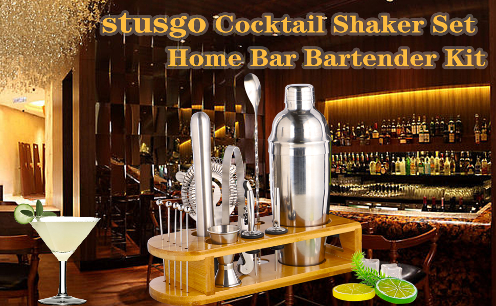 stusgo Cocktail Shaker Set with Bamboo Stand Bar Tool Set Bartender Kit for Home Bar Drink Mixing