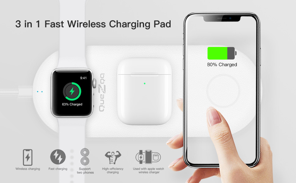 Quezqa Wireless Charging Pad - 3 in 1 Multiple Devices Charging Station - 10W Qi Fast Wireless Charger Leather Mat Compatible with Airpods Apple Watch ...