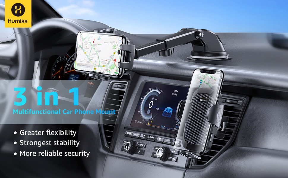 Humixx 3 in 1  Multifunctional Car Phone Mount