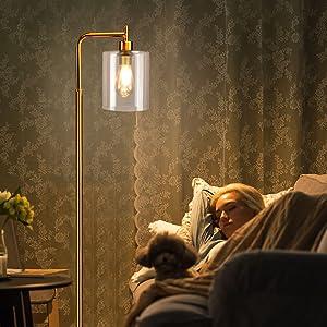 Lampadaire E27 avec interrupteur à pied, max : 60 W, lampe de lecture, bureau, chambre à coucher, studio, salle à manger.