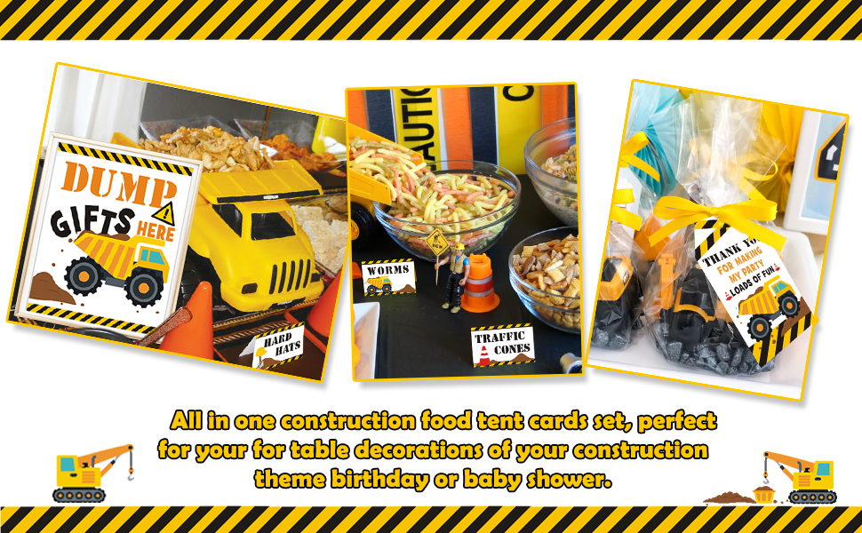 Construction Shower Construction Birthday Party Construction Birthday Party PlaceCard Food Tents Set of 12
