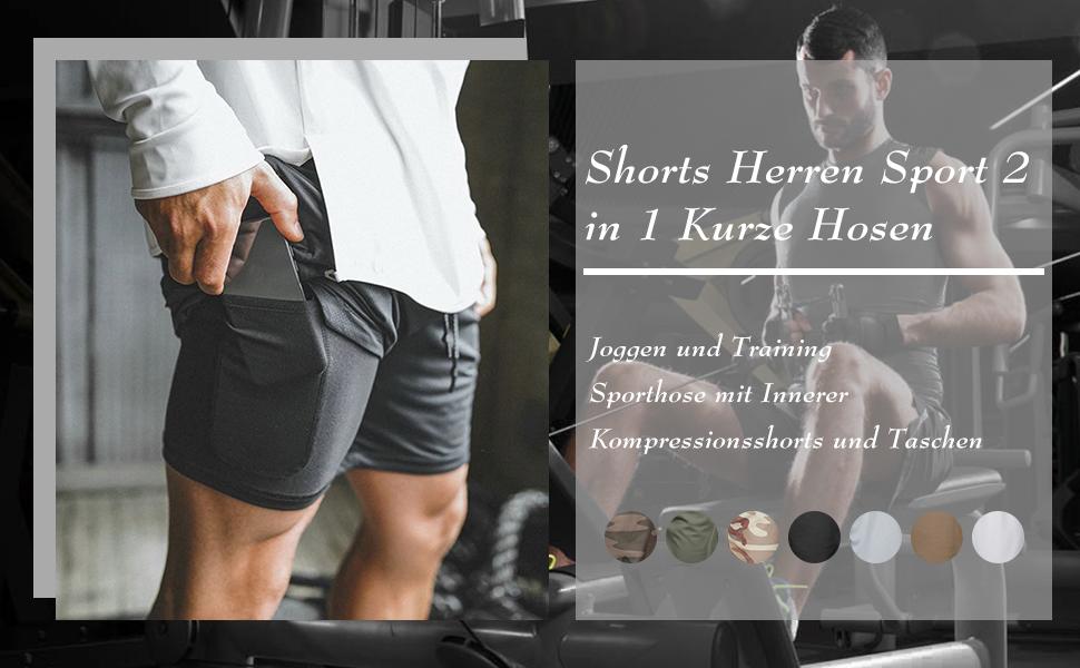 ASKSA Herren 2 in 1 Shorts Laufshorts Dual Kurze Sporthose M/änner Fitness Laufhose Sport Hosen Trainingshose