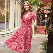 Dress, Polka Dot, Red, Shirt, Summer, Spring, Holiday