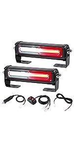 12V 24V 2 in 1 LED red white strobe light with L-brackets