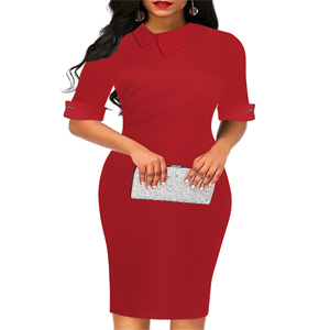 casual dress for women short half sleeve solid red burgundy cotton sheath pencil dress work dresses