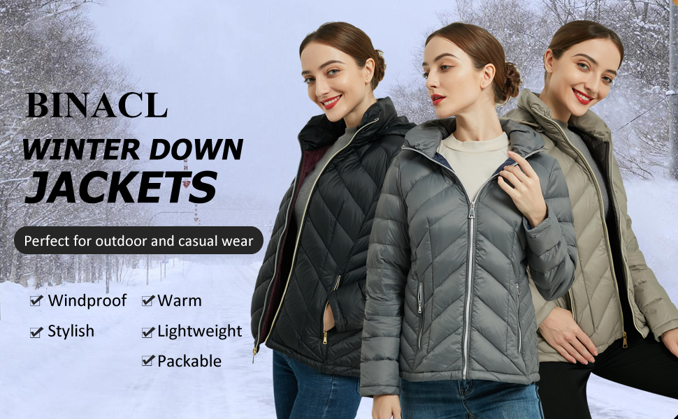 womens down jackets winter warm packable lightweight hooded short down puffer outdoor fashion coat