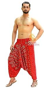 Red xMandala Rayon Harem Pants
