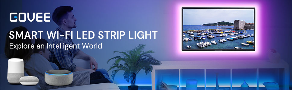 Govee Smart WiFi LED Strip Lights Works with Alexa, Google Home App Controlled Music Strip 16.4ft