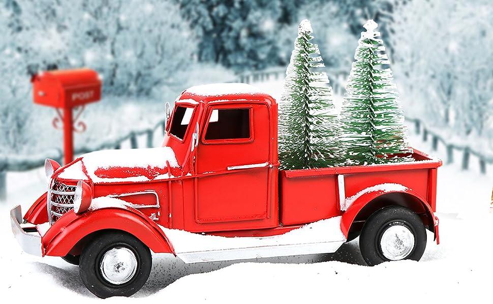 Vintage Red Truck Christmas Decor Movable Kids Xmas Gift Table Desk Decor Holiday Seasonal Decor Home Garden