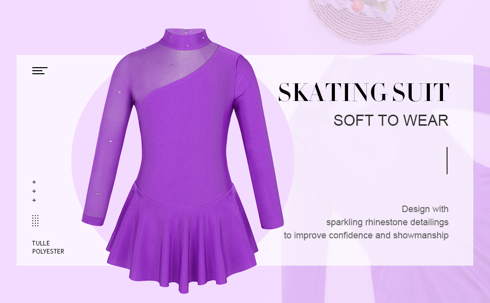 iiniim Children Girls Long Sleeves Sparkly Leotard Ballet Dance Gymnastics Figure Ice Skating Roller Skating Dancewear