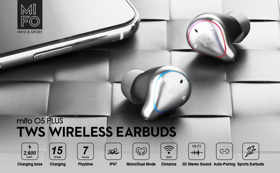 Wireless earbuds mifo O5PLUS waterproof  earbuds headphones Bluetooth for travel dont need to charge