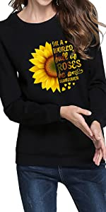 women's botanic flowers graphic prints sweatshirt cute sunflower casual pullover tops