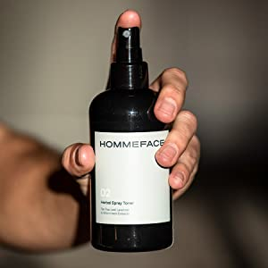 hommeface daily skincare men face facial herbal spray mist toner witch hazel alcohol free extract