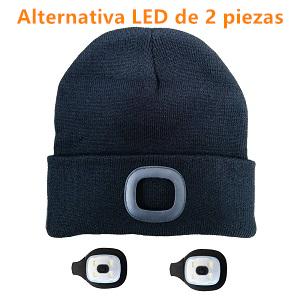 Gorro de Punto con luz Recargable Gorro Unisex con Iluminado Gorro de Invierno c/álido de 4 LED Manos Libres con 3 Niveles de Brillo