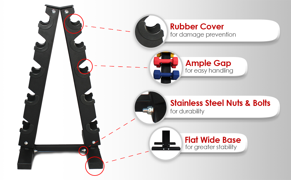 Solid Steel Dumbbell Rack, 3/5 tier, 5 Dumbbell holder, A Frame free weight tree, Fitness Republic