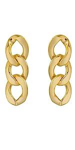 chunky statement gold chain cuban oval link gold earrings women hip hop kpop fashion hip hop kpop