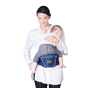 Bebamour Babytrage f/ür 0-36 Monate Babytrage Hipseat 6 Carry Way Grau