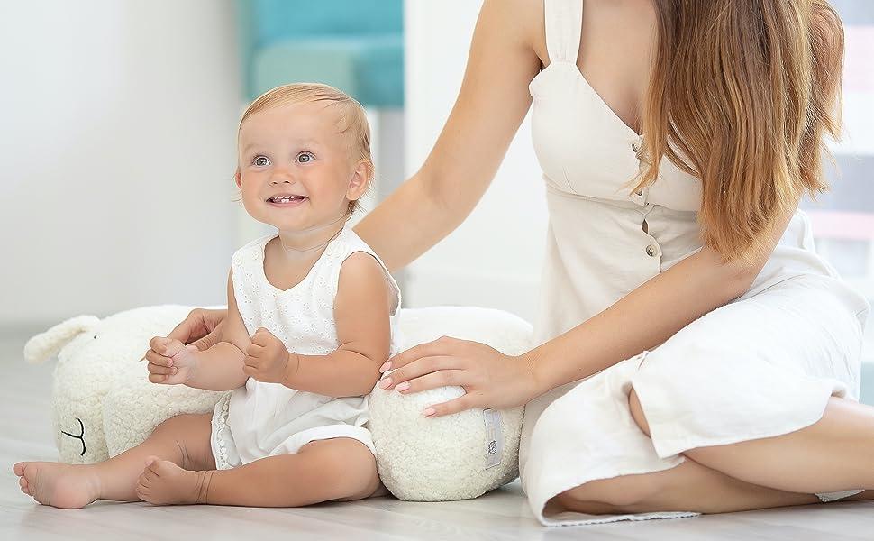 Bisoo Cojín De Lactancia Bebe - Almohada De Maternidad - Forma de Oveja - Funda Lavable - Regalos Originales Para Bebes Recien Nacidos Embarazadas Y ...