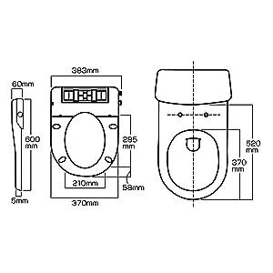 Kirei,寸法図,温水洗浄便座,ウォシュレット,水洗浄便座,水圧式,非電源式,シャワー洗浄便座