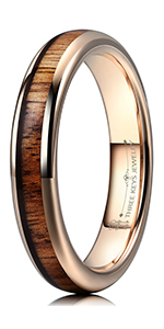 4mm kao wood tungsten wedding ring for women