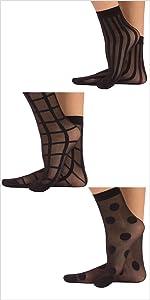 calze calzini donna velate velati pois righe quadri trasparenze trasparenti