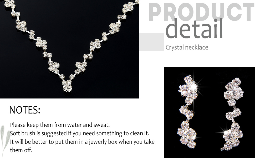 Unicra Bride Silver Bridal Necklace Earrings Set Crystal Wedding JewelryRhinestone Choker Necklace
