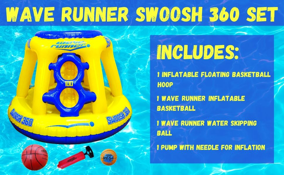 Wave Runner Floating Swimming Pool Basketball Set for Kids Swimming pool games water skipping ball