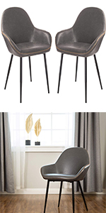 Grey Mid Century Dining Room Chairs with Arm