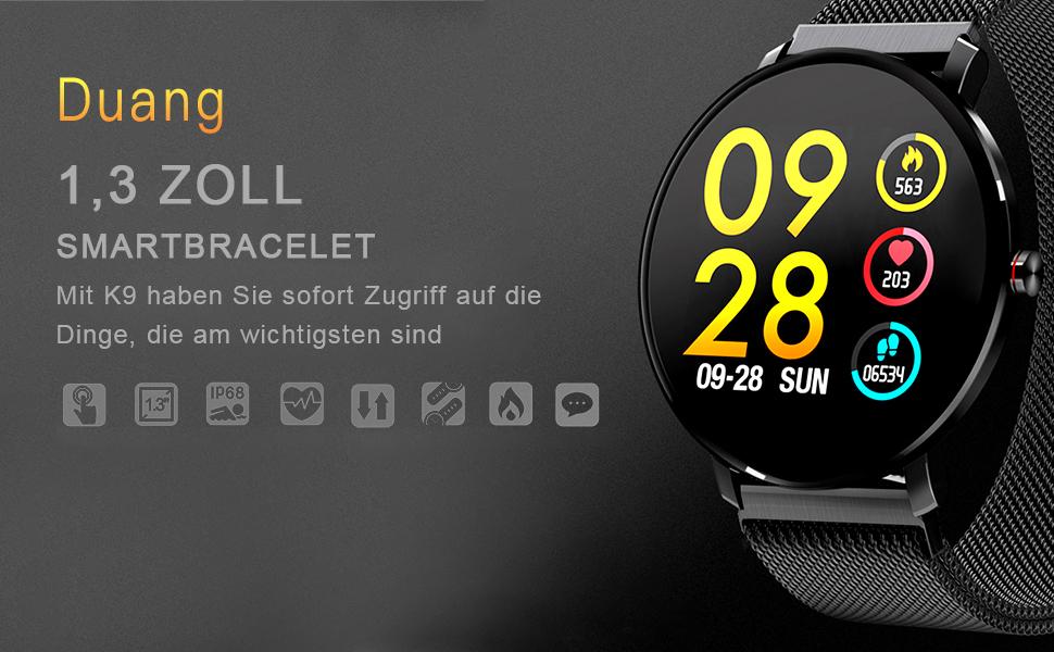 IOS//Android Schlaf-Monitor f/ür Damen Herren Bluetooth Fitness Tracker Uhr IP67 Wasserdichter Aktivit/äts-Tracker Pulsmesser//Blutdruckmessger/ät Schrittz/ähler Duang Smartwatch