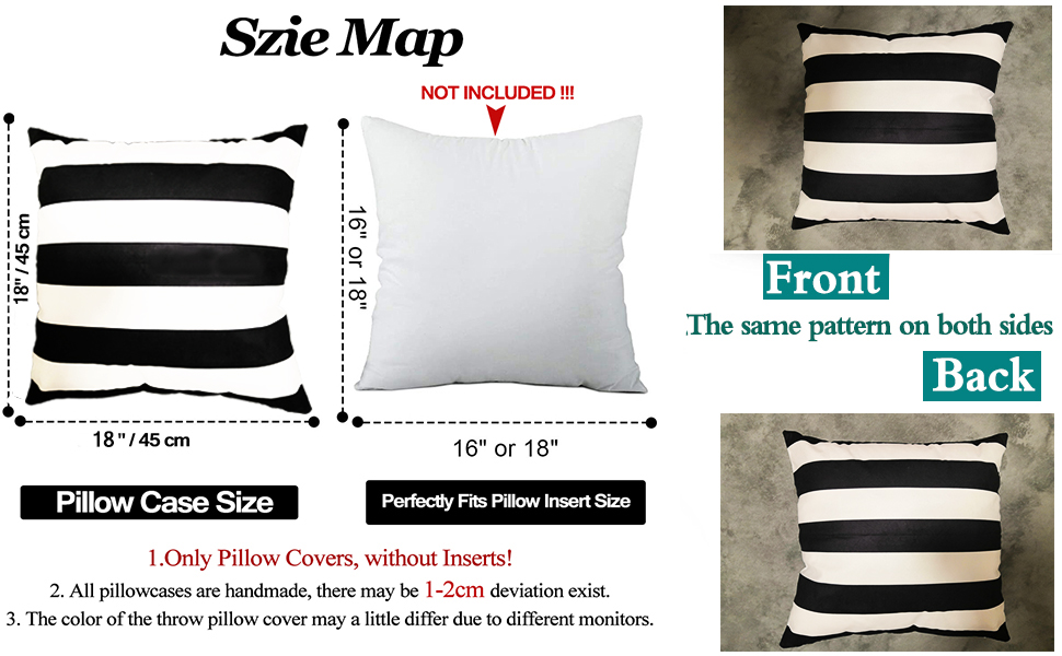Home Decorative Cotton Square Throw Pillow Cover Cushion Case Stripe Toss Pillowcase