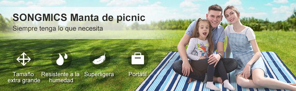 SONGMICS 777Gcm70L Manta de Picnic Impermeable y Plegable 200 X 200Cm