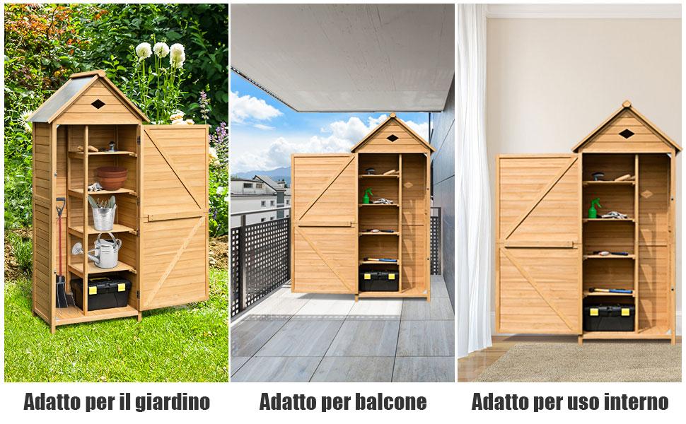 Armadio per Esterni da Giardino per Attrezzi 70x35,5x176cm GOPLUS Casetta da Giardino per Ripostiglio Portaoggetti Attrezzi in Legno