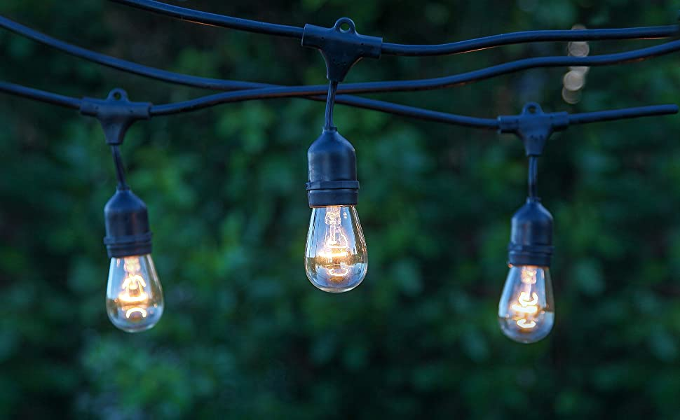 Brightech Ambience Pro Waterproof Outdoor Incandescent String Lights Vintage 11W Edison Bulbs 48 Ft