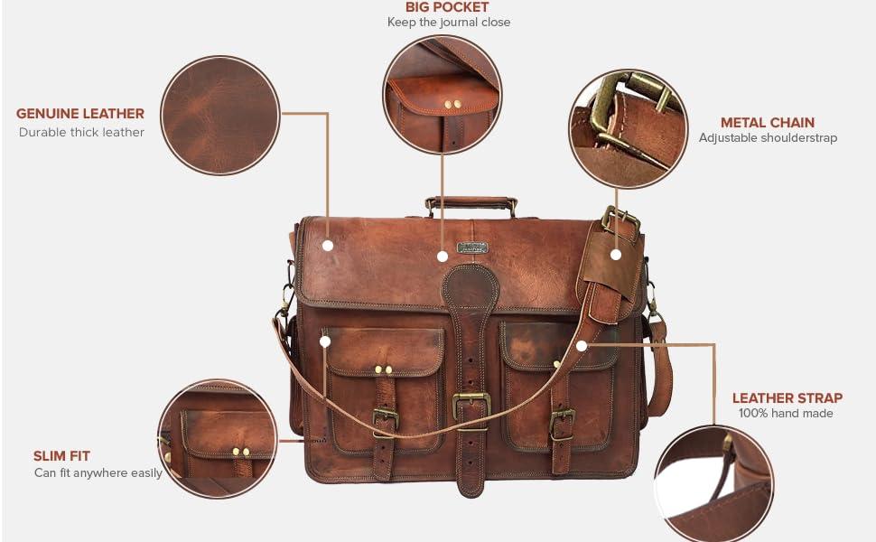 Genuine leather slim fit big pocket leather strap